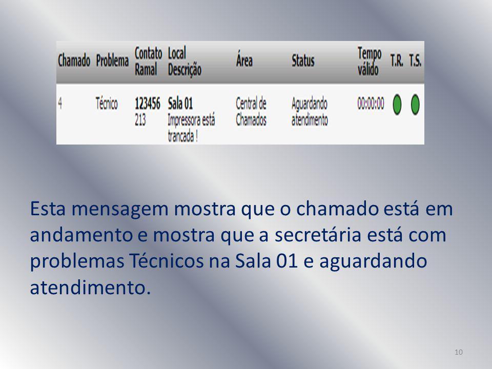 Esta mensagem mostra que o chamado está em andamento e mostra que a secretária está com problemas Técnicos na Sala 01 e aguardando atendimento.