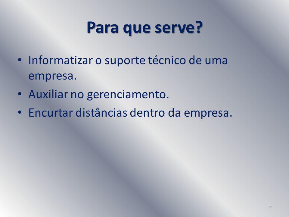 Para que serve. Informatizar o suporte técnico de uma empresa.