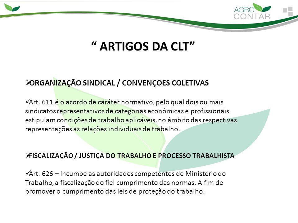 """"""" ARTIGOS DA CLT""""  ORGANIZAÇÃO SINDICAL / CONVENÇOES COLETIVAS Art. 611 é o acordo de caráter normativo, pelo qual dois ou mais sindicatos representa"""