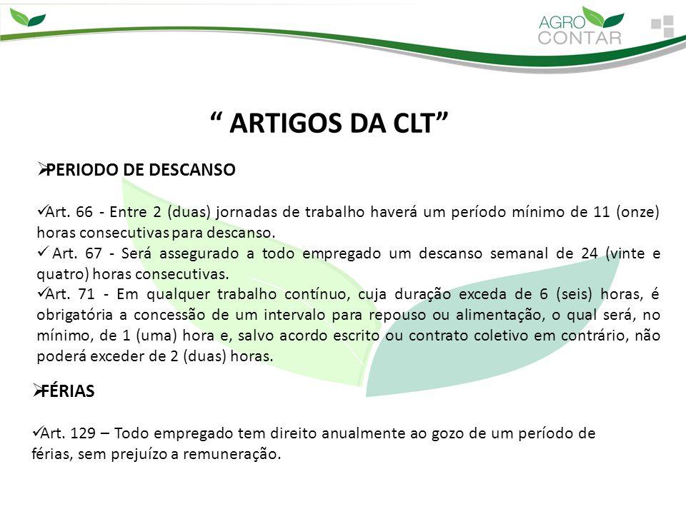 ARTIGOS DA CLT  PERIODO DE DESCANSO Art.