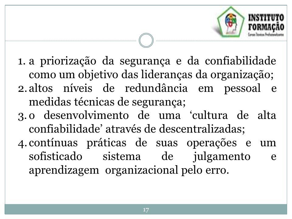1.a priorização da segurança e da confiabilidade como um objetivo das lideranças da organização; 2.altos níveis de redundância em pessoal e medidas té