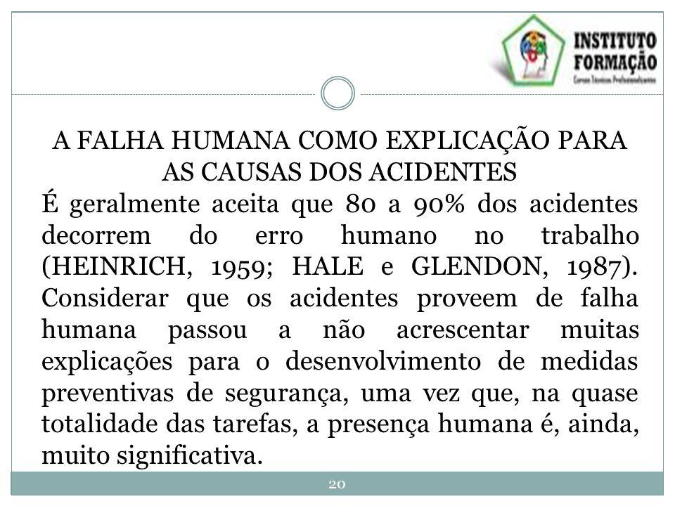 A FALHA HUMANA COMO EXPLICAÇÃO PARA AS CAUSAS DOS ACIDENTES É geralmente aceita que 80 a 90% dos acidentes decorrem do erro humano no trabalho (HEINRICH, 1959; HALE e GLENDON, 1987).