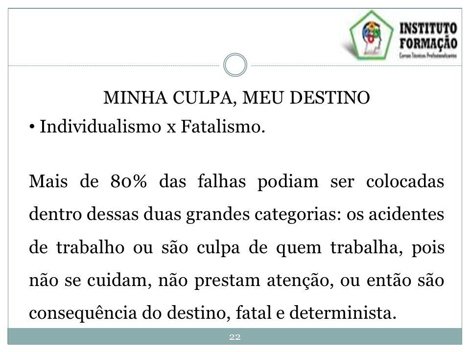 MINHA CULPA, MEU DESTINO Individualismo x Fatalismo.