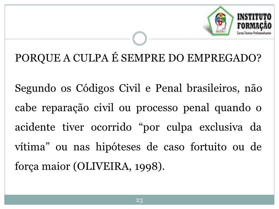 PORQUE A CULPA É SEMPRE DO EMPREGADO? Segundo os Códigos Civil e Penal brasileiros, não cabe reparação civil ou processo penal quando o acidente tiver