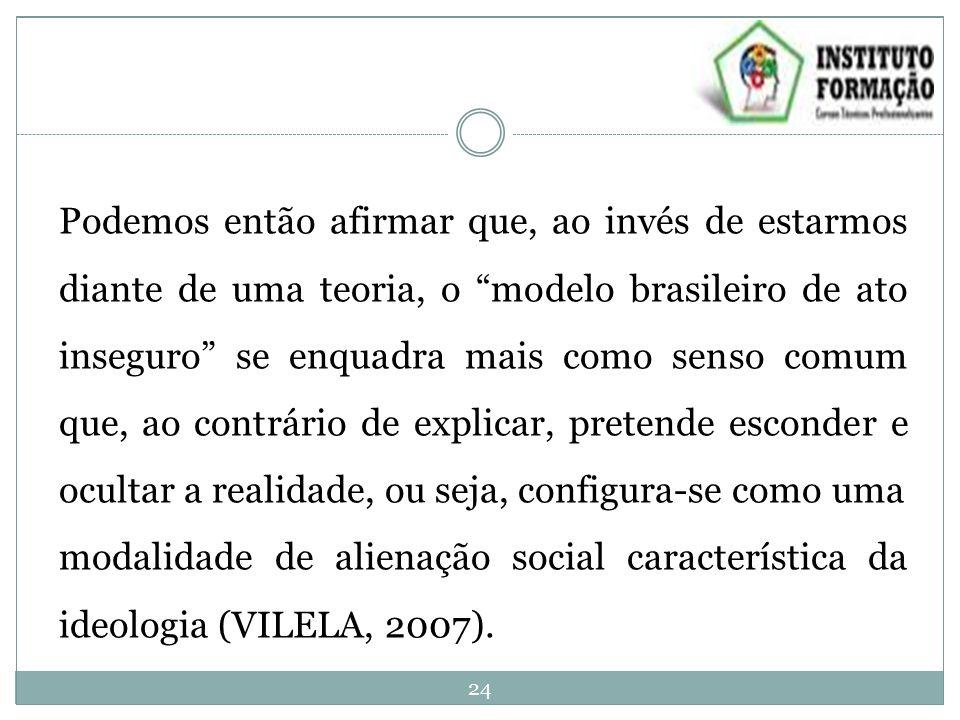 Podemos então afirmar que, ao invés de estarmos diante de uma teoria, o modelo brasileiro de ato inseguro se enquadra mais como senso comum que, ao contrário de explicar, pretende esconder e ocultar a realidade, ou seja, configura-se como uma modalidade de alienação social característica da ideologia (VILELA, 2007).