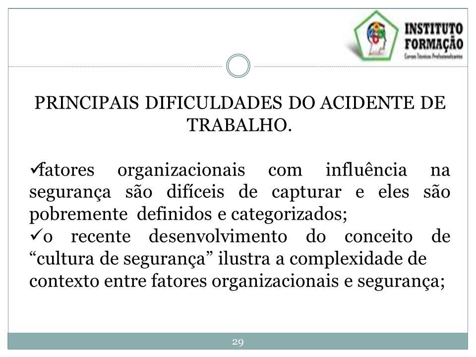 PRINCIPAIS DIFICULDADES DO ACIDENTE DE TRABALHO. fatores organizacionais com influência na segurança são difíceis de capturar e eles são pobremente de