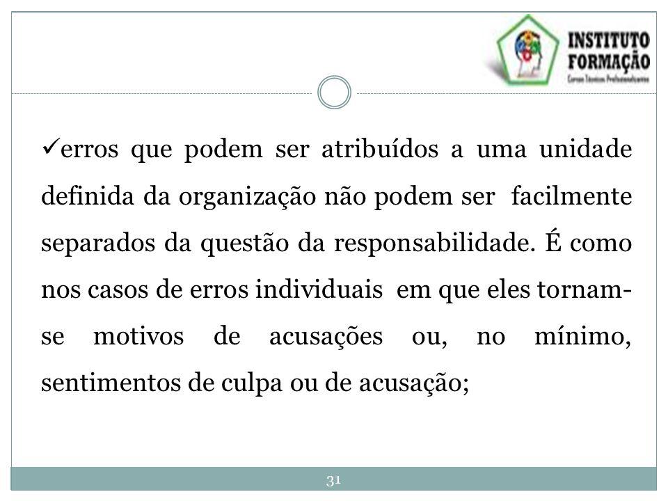 erros que podem ser atribuídos a uma unidade definida da organização não podem ser facilmente separados da questão da responsabilidade.