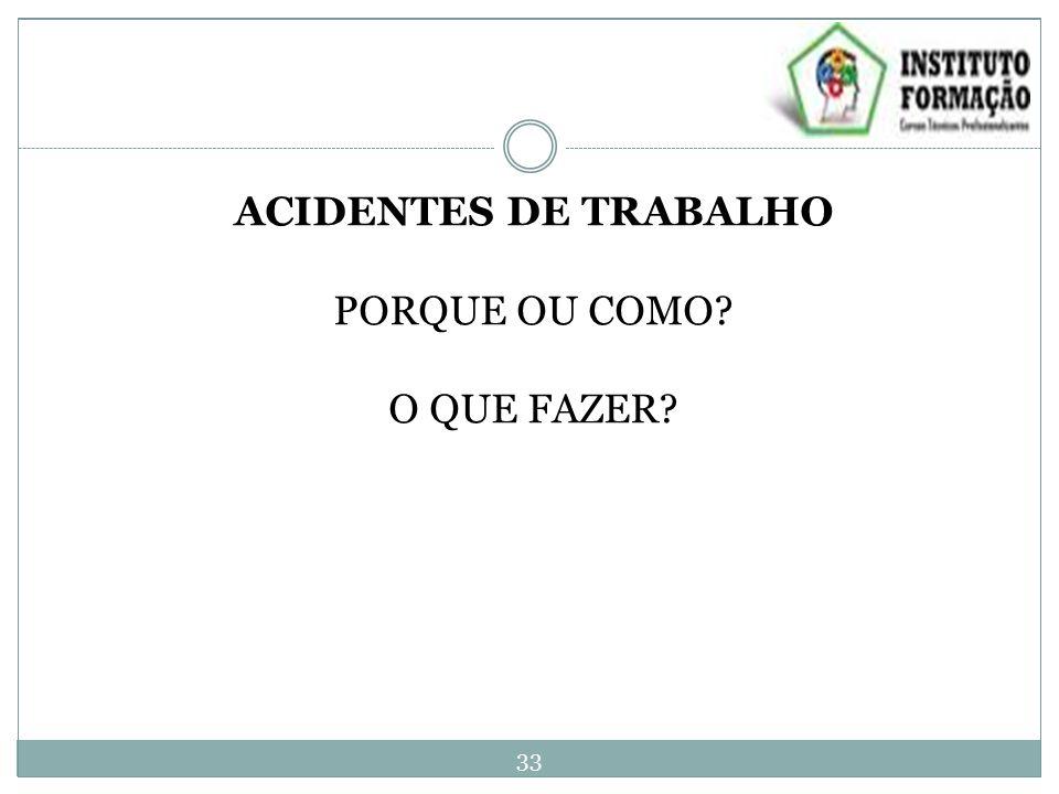 ACIDENTES DE TRABALHO PORQUE OU COMO? O QUE FAZER? 33