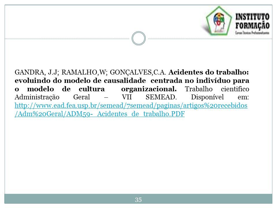 GANDRA, J.J; RAMALHO,W; GONÇALVES,C.A.