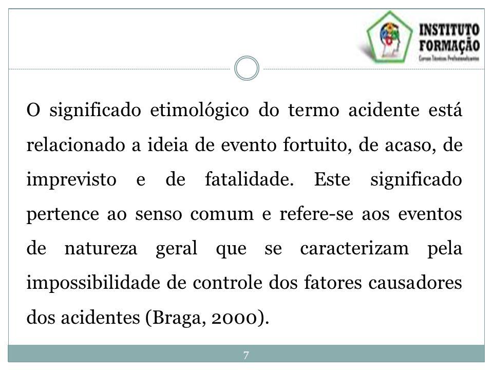 O significado etimológico do termo acidente está relacionado a ideia de evento fortuito, de acaso, de imprevisto e de fatalidade.
