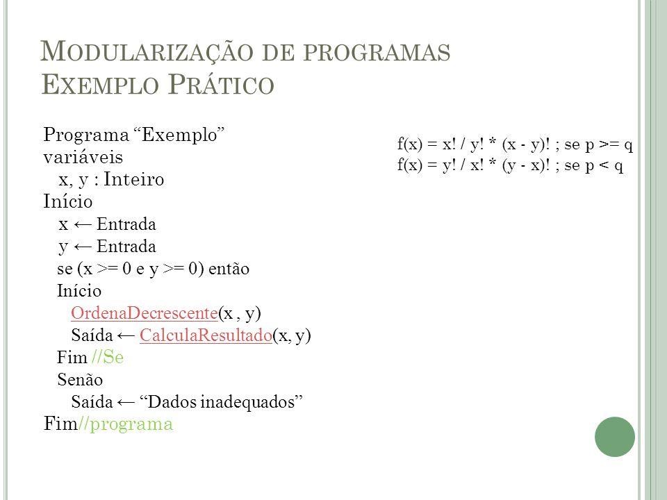 """M ODULARIZAÇÃO DE PROGRAMAS E XEMPLO P RÁTICO Programa """"Exemplo"""" variáveis x, y : Inteiro Início x ← Entrada y ← Entrada se (x >= 0 e y >= 0) então In"""