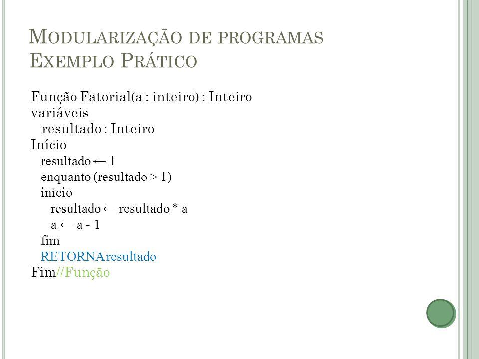 M ODULARIZAÇÃO DE PROGRAMAS E XEMPLO P RÁTICO Função Fatorial(a : inteiro) : Inteiro variáveis resultado : Inteiro Início resultado ← 1 enquanto (resu