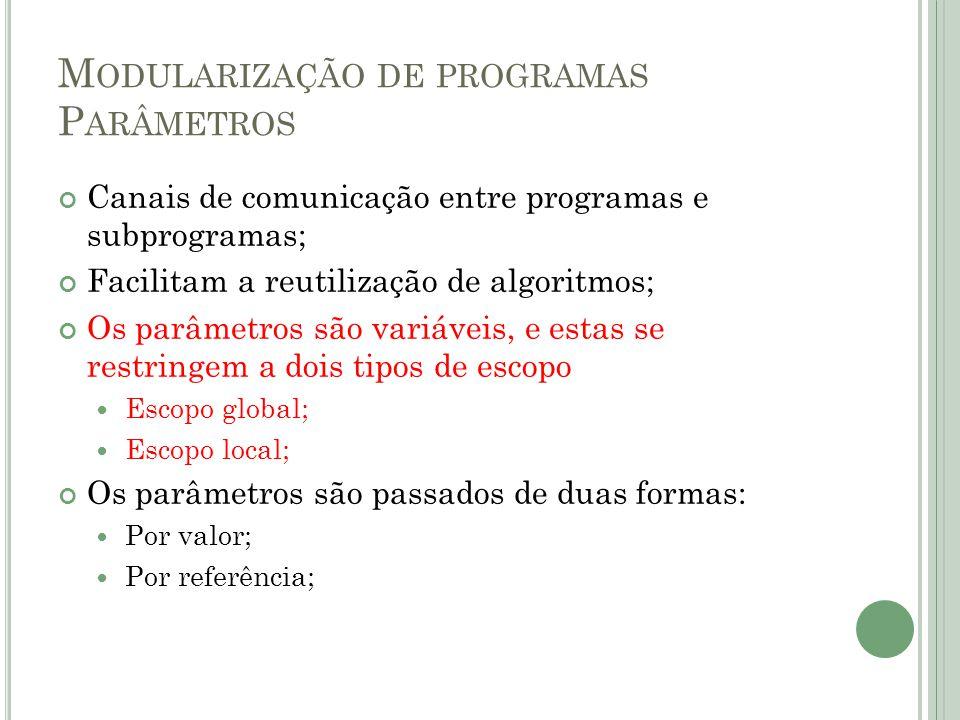 M ODULARIZAÇÃO DE PROGRAMAS P ARÂMETROS Canais de comunicação entre programas e subprogramas; Facilitam a reutilização de algoritmos; Os parâmetros sã