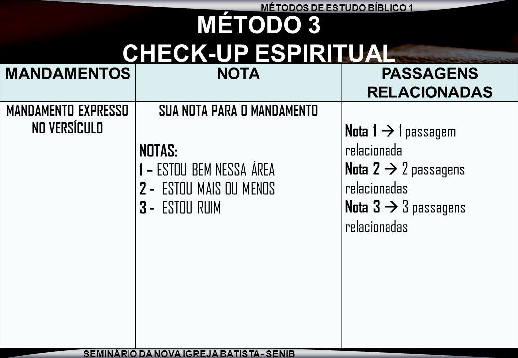 MÉTODOS DE ESTUDO BÍBLICO 1 SEMINÁRIO DA NOVA IGREJA BATISTA - SENIB 9 MÉTODO 3 CHECK-UP ESPIRITUAL 1º.