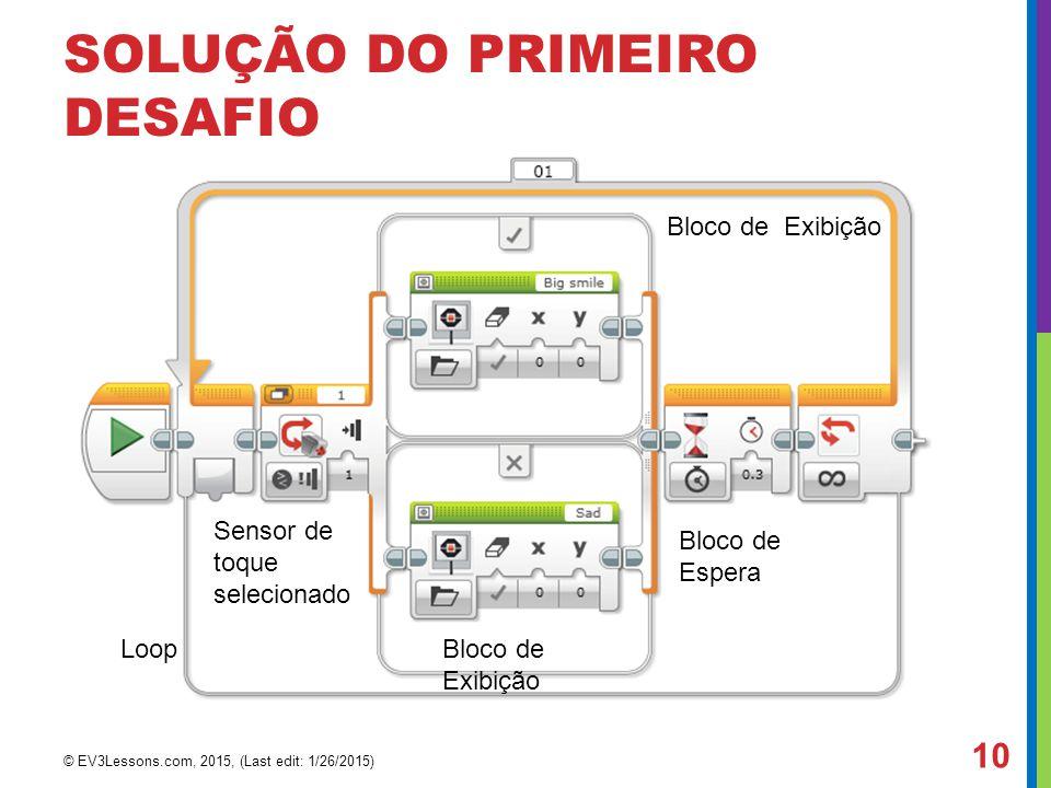 SOLUÇÃO DO PRIMEIRO DESAFIO Bloco de Exibição Bloco de Espera Loop Sensor de toque selecionado © EV3Lessons.com, 2015, (Last edit: 1/26/2015) 10