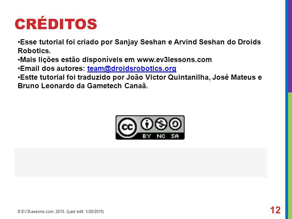 CRÉDITOS Esse tutorial foi criado por Sanjay Seshan e Arvind Seshan do Droids Robotics. Mais lições estão disponíveis em www.ev3lessons.com Email dos