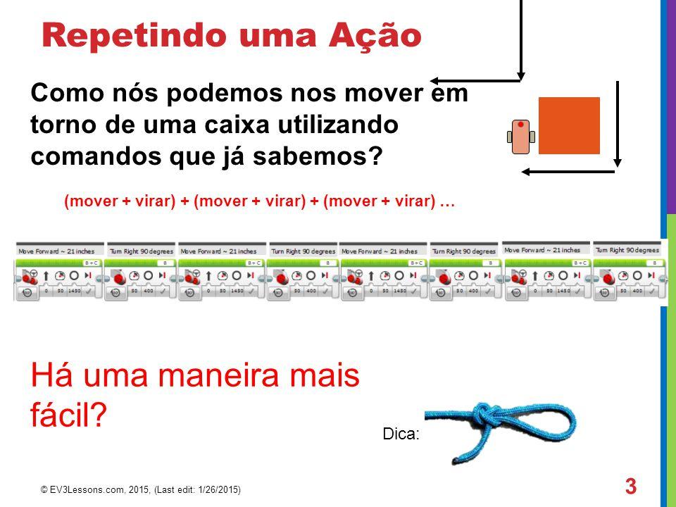 Repetindo uma Ação Como nós podemos nos mover em torno de uma caixa utilizando comandos que já sabemos?  (mover + virar) + (mover + virar) + (mover +