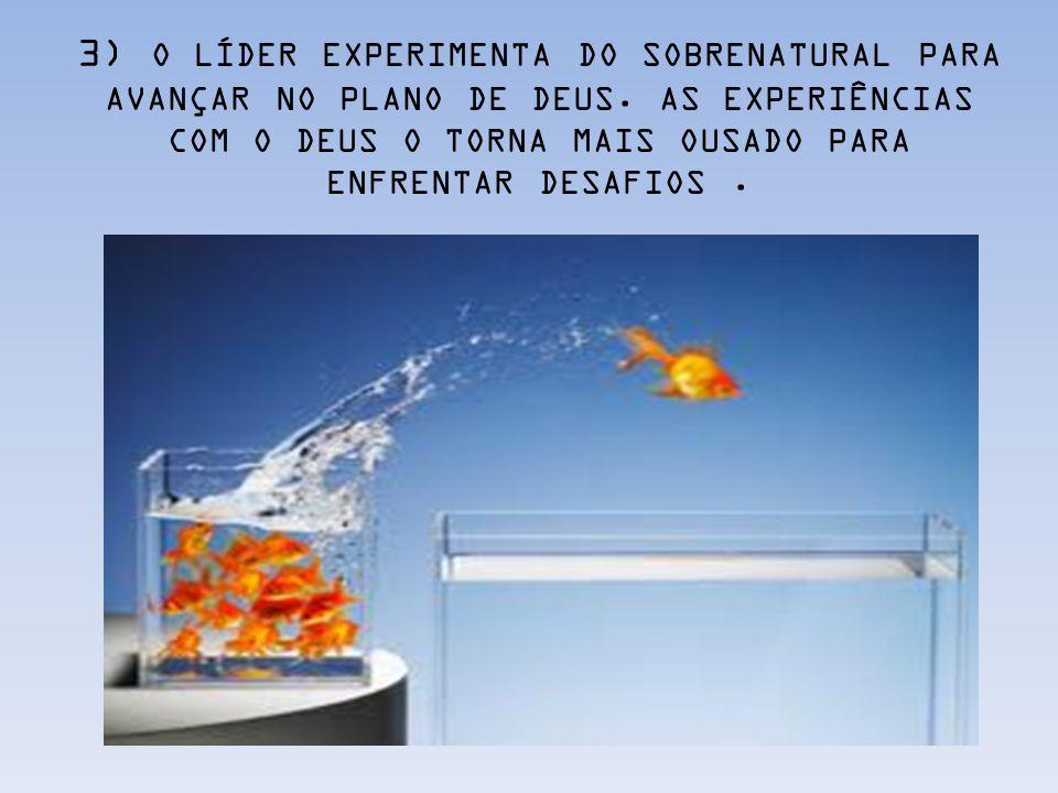 3) O LÍDER EXPERIMENTA DO SOBRENATURAL PARA AVANÇAR NO PLANO DE DEUS. AS EXPERIÊNCIAS COM O DEUS O TORNA MAIS OUSADO PARA ENFRENTAR DESAFIOS.