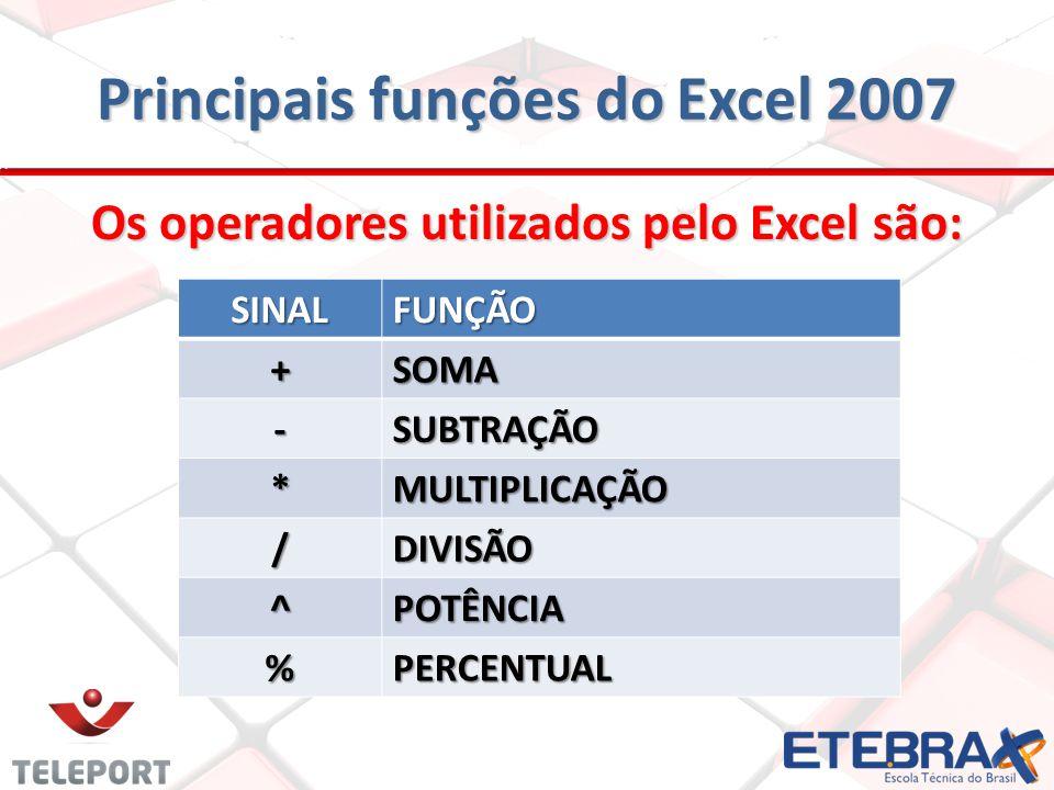 Principais funções do Excel 2007 Os operadores utilizados pelo Excel são: SINALFUNÇÃO +SOMA -SUBTRAÇÃO *MULTIPLICAÇÃO /DIVISÃO ^POTÊNCIA %PERCENTUAL