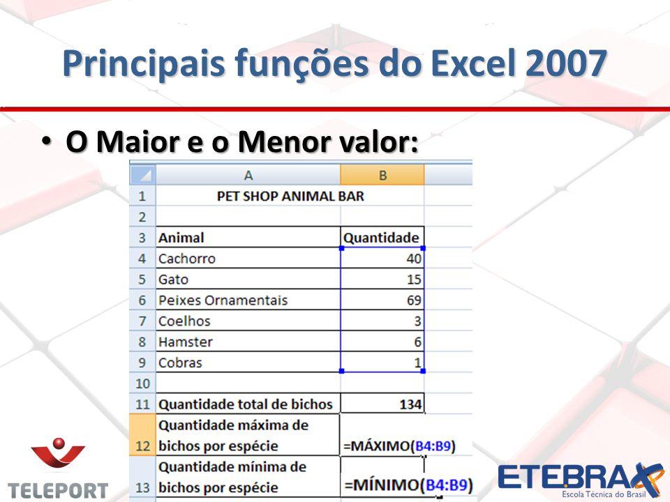 Principais funções do Excel 2007 O Maior e o Menor valor: O Maior e o Menor valor: