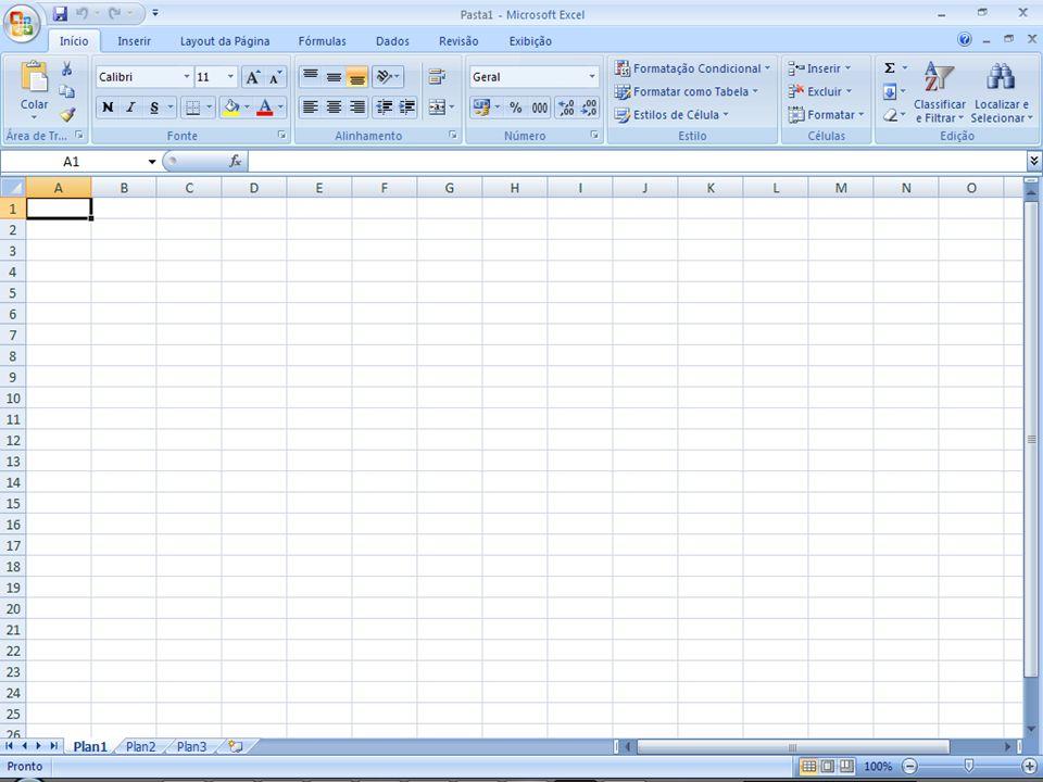 Principais funções do Excel 2007 Além dos operadores aritméticos o Excel trabalha com funções próprias como: Além dos operadores aritméticos o Excel trabalha com funções próprias como: FUNÇÃOOBJETIVOEXEMPLO =SOMA()Somar vários algarismos ao mesmo tempo =SOMA(A1:A10) =MÉDIA()Obtêm a média ponderada dos termos=MÉDIA(A1:A10) =ARRED()Arredonda um numeral decimal e escolhe a quantidade de casas decimais.
