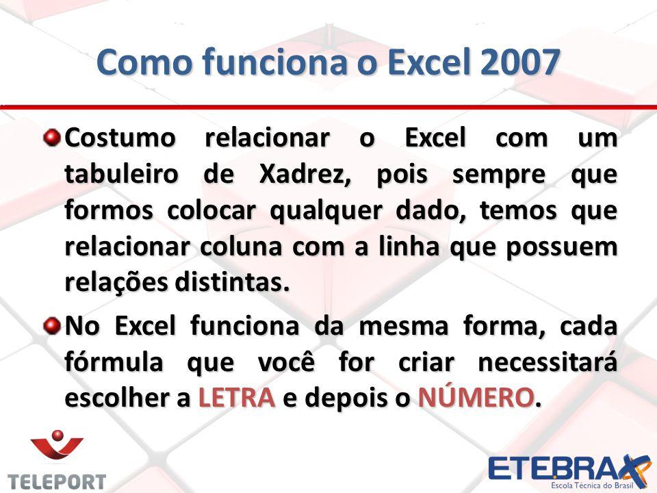 Principais funções do Excel 2007 FUNÇÃOOBJETIVOEXEMPLO =CONT.NÚM () Apenas conta a quantidade de registros =CONT.NÚM (A1:C10) =PI()Retorna o valor de PI =PI() =SE()Função lógica e condicional =SE(condição;V;F )