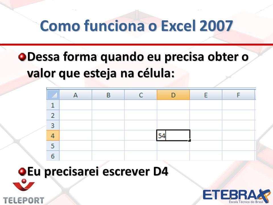 Principais funções do Excel 2007 Utilizando a função de soma Utilizando a função de soma