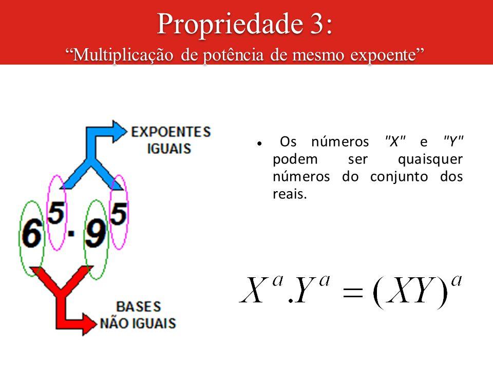 """Propriedade 3: """"Multiplicação de potência de mesmo expoente"""" Os números"""