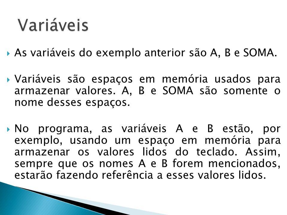  As variáveis do exemplo anterior são A, B e SOMA.  Variáveis são espaços em memória usados para armazenar valores. A, B e SOMA são somente o nome d