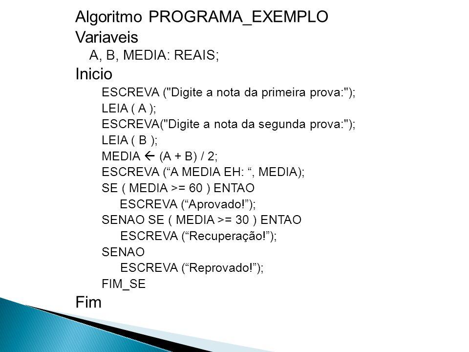 Algoritmo PROGRAMA_EXEMPLO Variaveis A, B, MEDIA: REAIS; Inicio ESCREVA (