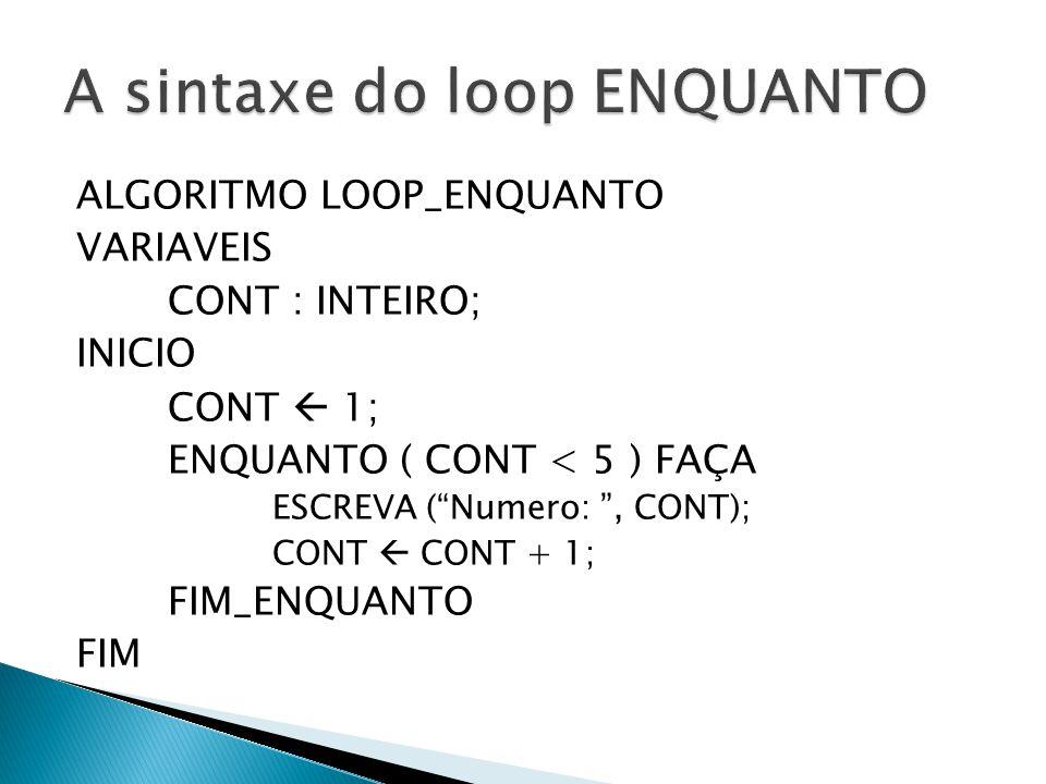 "ALGORITMO LOOP_ENQUANTO VARIAVEIS CONT : INTEIRO; INICIO CONT  1; ENQUANTO ( CONT < 5 ) FAÇA ESCREVA (""Numero: "", CONT); CONT  CONT + 1; FIM_ENQUANT"