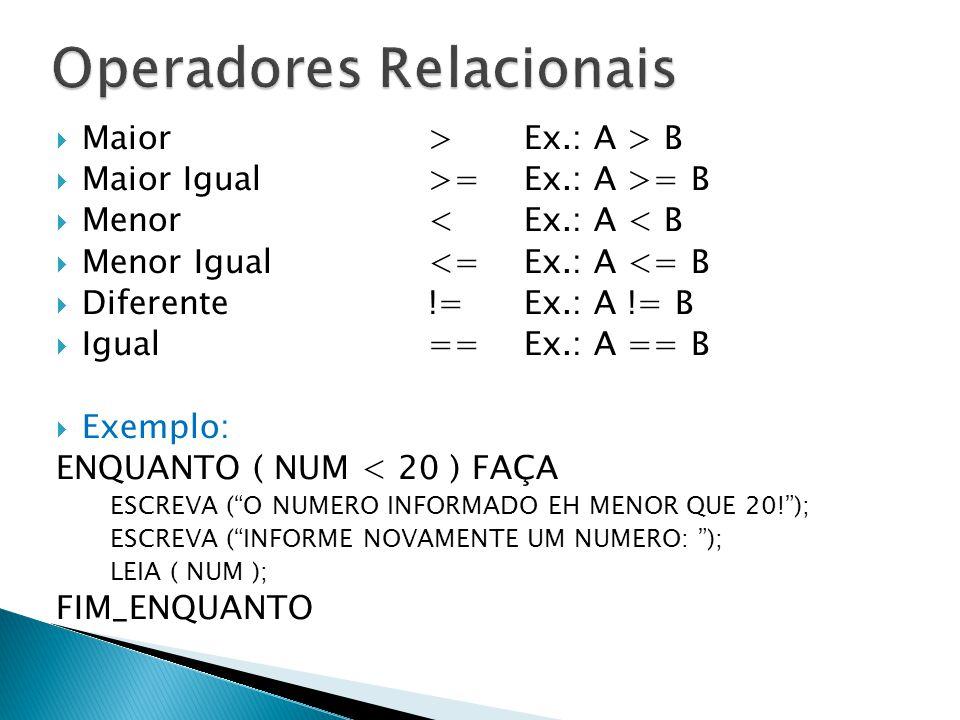  Maior>Ex.: A > B  Maior Igual>=Ex.: A >= B  Menor <Ex.: A < B  Menor Igual<=Ex.: A <= B  Diferente !=Ex.: A != B  Igual==Ex.: A == B  Exemplo: