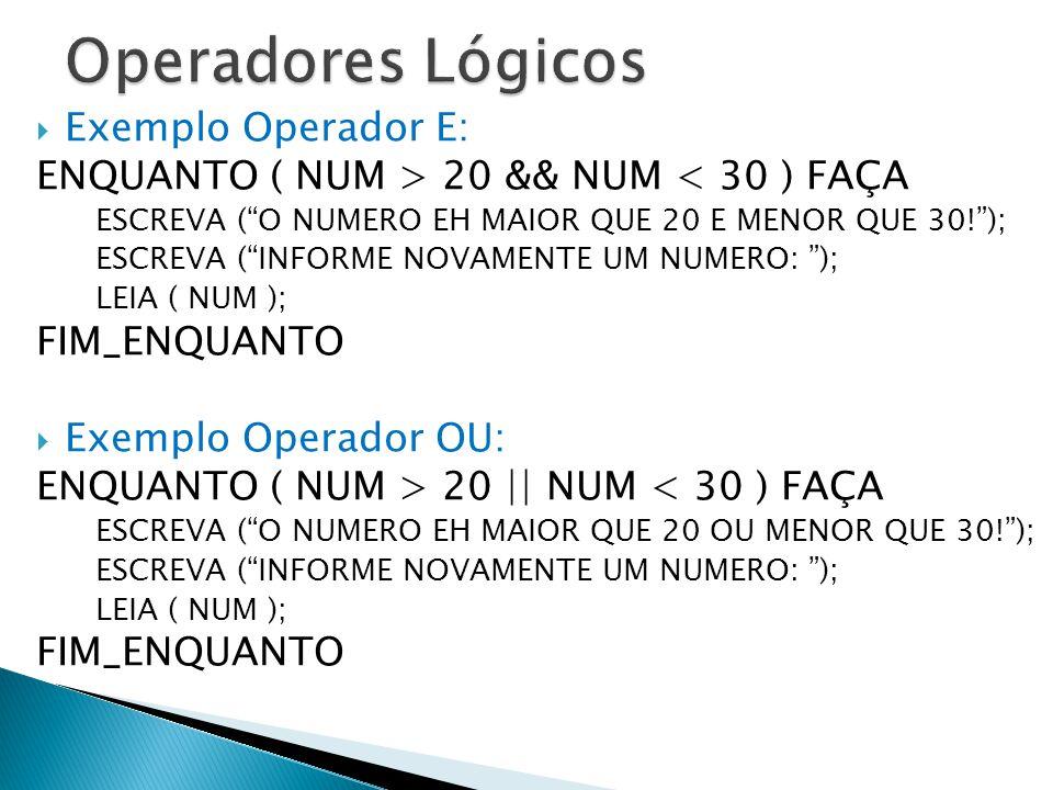 """ Exemplo Operador E: ENQUANTO ( NUM > 20 && NUM < 30 ) FAÇA ESCREVA (""""O NUMERO EH MAIOR QUE 20 E MENOR QUE 30!""""); ESCREVA (""""INFORME NOVAMENTE UM NUME"""