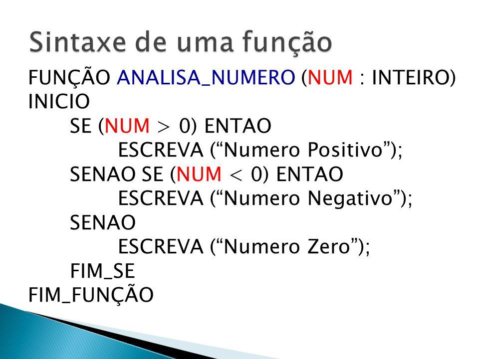 """FUNÇÃO ANALISA_NUMERO (NUM : INTEIRO) INICIO SE (NUM > 0) ENTAO ESCREVA (""""Numero Positivo""""); SENAO SE (NUM < 0) ENTAO ESCREVA (""""Numero Negativo""""); SEN"""