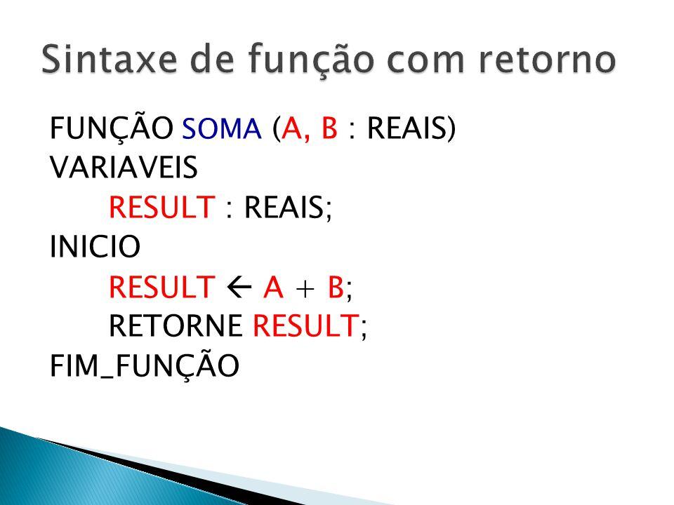 FUNÇÃO SOMA (A, B : REAIS) VARIAVEIS RESULT : REAIS; INICIO RESULT  A + B; RETORNE RESULT; FIM_FUNÇÃO