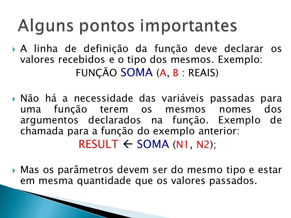  A linha de definição da função deve declarar os valores recebidos e o tipo dos mesmos. Exemplo: FUNÇÃO SOMA (A, B : REAIS)  Não há a necessidade da