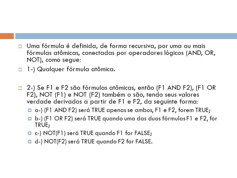  Uma fórmula é definida, de forma recursiva, por uma ou mais fórmulas atômicas, conectadas por operadores lógicos (AND, OR, NOT), como segue:  1-) Qualquer fórmula atômica.