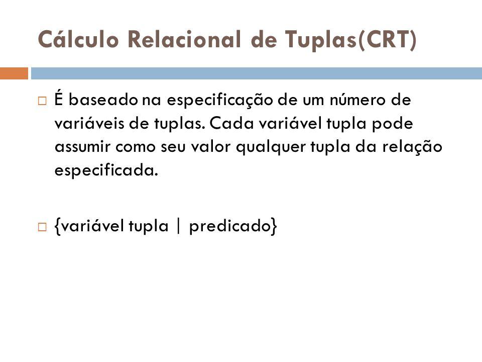 fórmulas atômicas de cálculo de predicados: 1-) Uma fórmula atômica R(ti), onde R é o nome de uma relação e ti é uma variável de tupla.