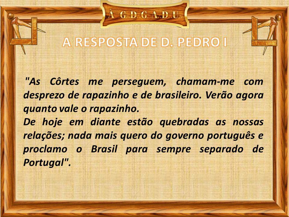 As Côrtes me perseguem, chamam-me com desprezo de rapazinho e de brasileiro.