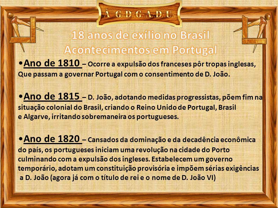 Ano de 1810 – Ocorre a expulsão dos franceses pôr tropas inglesas, Que passam a governar Portugal com o consentimento de D. João. Ano de 1815 – D. Joã