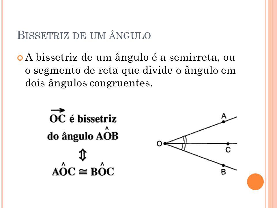 B ISSETRIZ DE UM ÂNGULO A bissetriz de um ângulo é a semirreta, ou o segmento de reta que divide o ângulo em dois ângulos congruentes.