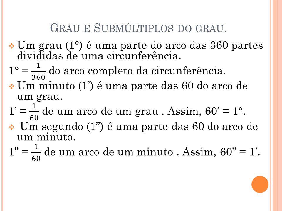 G RAU E S UBMÚLTIPLOS DO GRAU.