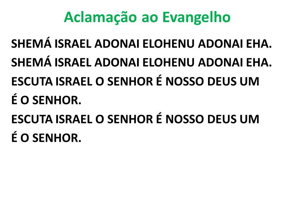 Aclamação ao Evangelho SHEMÁ ISRAEL ADONAI ELOHENU ADONAI EHA. ESCUTA ISRAEL O SENHOR É NOSSO DEUS UM É O SENHOR. ESCUTA ISRAEL O SENHOR É NOSSO DEUS
