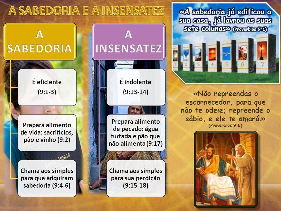 É eficiente (9:1-3) Prepara alimento de vida: sacrifícios, pão e vinho (9:2) Chama aos simples para que adquiram sabedoria (9:4-6) É indolente (9:13-1