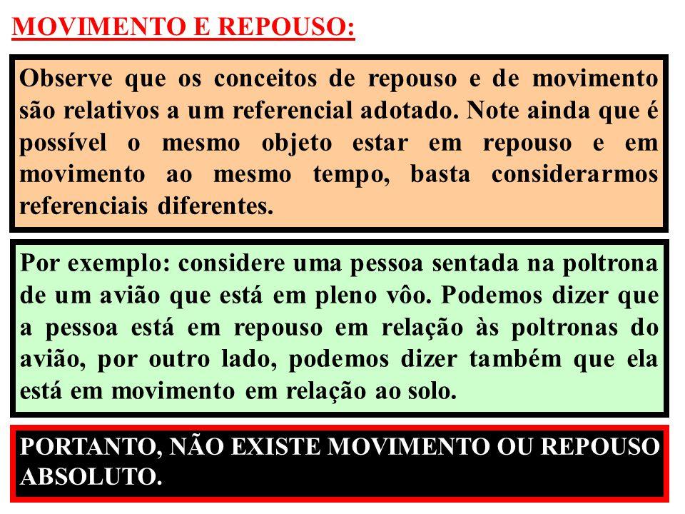 MOVIMENTO E REPOUSO: Observe que os conceitos de repouso e de movimento são relativos a um referencial adotado. Note ainda que é possível o mesmo obje