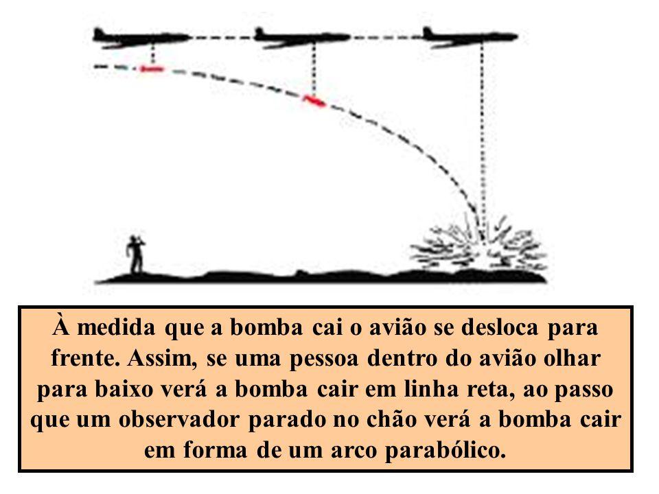 À medida que a bomba cai o avião se desloca para frente. Assim, se uma pessoa dentro do avião olhar para baixo verá a bomba cair em linha reta, ao pas