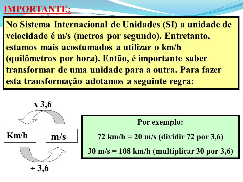 IMPORTANTE: No Sistema Internacional de Unidades (SI) a unidade de velocidade é m/s (metros por segundo). Entretanto, estamos mais acostumados a utili