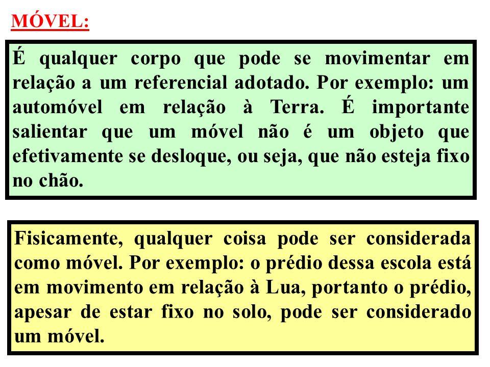 REFERENCIAL: O estudo do movimento de um corpo depende sempre do referencial escolhido.