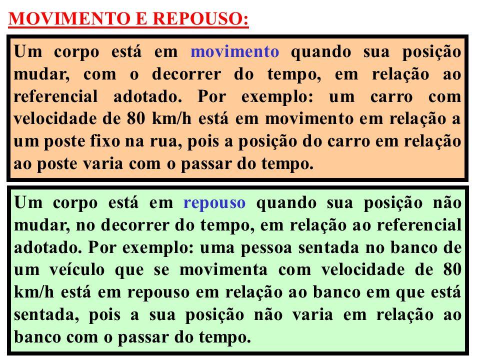 MOVIMENTO E REPOUSO: Um corpo está em movimento quando sua posição mudar, com o decorrer do tempo, em relação ao referencial adotado. Por exemplo: um