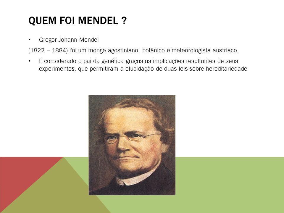 QUEM FOI MENDEL ? Gregor Johann Mendel (1822 – 1884) foi um monge agostiniano, botânico e meteorologista austriaco. É considerado o pai da genética gr